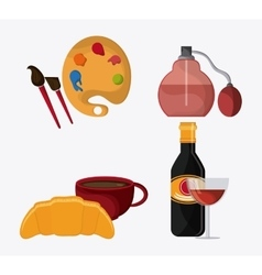 France design food perfum and palette icon vector