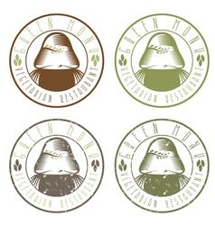 Green monk vegetarian restaurant vintage emblems vector