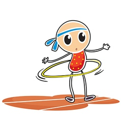 A sketch of a young girl with a hula hoop vector