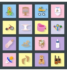 Baby and kids flat icons set vector image vector image