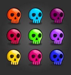 Big set of cartoon colored skulls vector