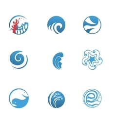 Blue Sea Icons Set vector image vector image