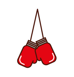 Brightly hanging boxing gloves vector
