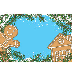 christmas frame with fir branch and gingerbread vector image vector image