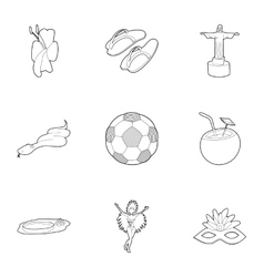 Country brazil icons set outline style vector