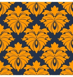 Damask seamless pattern in blue and orange vector image vector image
