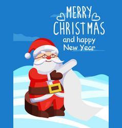 Father christmas with paper scroll on snow vector