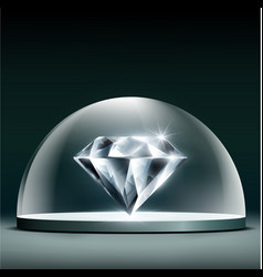 Gem diamond cover glass dome vector