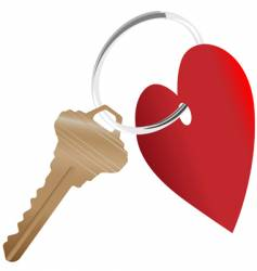 heart symbol and house key vector image vector image
