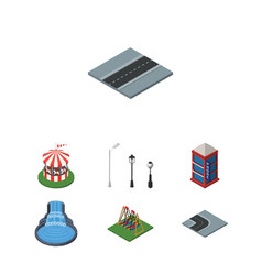 Isometric city set of seesaw carousel turning vector
