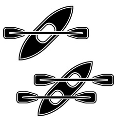 Kayak paddle black symbols vector
