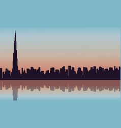 Landscape of building in arab silhouettes vector