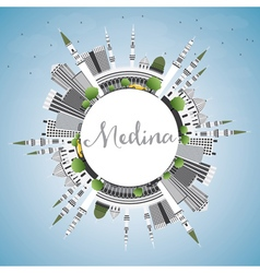 Medina skyline with gray buildings blue sky vector
