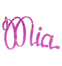 Mia name lettering pink tinsels vector