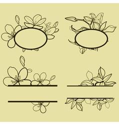 new flower set frame vector image vector image