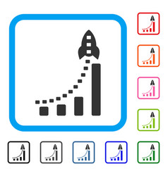 rocket business bar chart framed icon vector image vector image