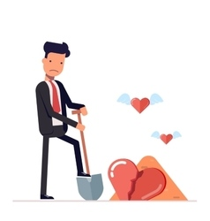 Sad man digs a broken heart businessman o vector
