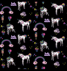 seamless pattern with unicorn elements vector image vector image