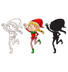 Sketches of an elf in three colors vector image