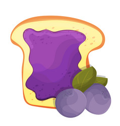 Toasted bread slice of a sandwich blueberry jam vector