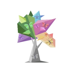 Tree and butterfly vector