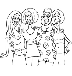 women friends cartoon vector image vector image
