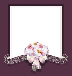 Wedding frame and ribbon vector