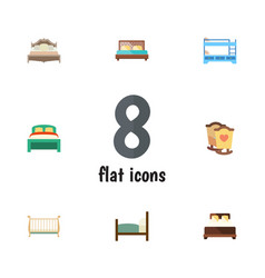 Flat bed set of crib bedroom bed and other vector
