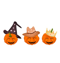 Three happy jack-o-lantern pumpkins vector