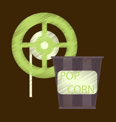 Flat icon in shading style popcorn cinema vector