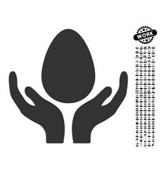 Egg incubator hands icon with men bonus vector