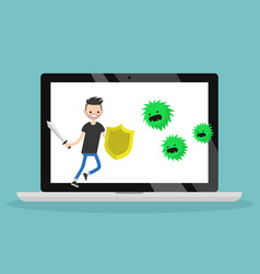 young bearded man fighting against virus flat vector image