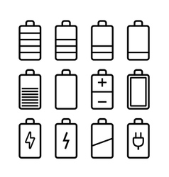 Battery icons set in ios7 style vector image