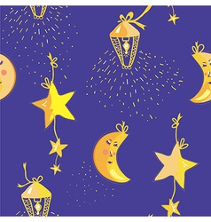 Night pattern with moon stars seamless vector