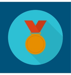 Bronze medal with red ribbon vector