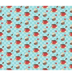 Seamless sweet pattern cupcake with cup of coffee vector
