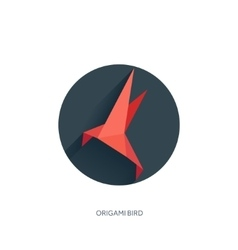 Origami flat paper bird on abstract round vector