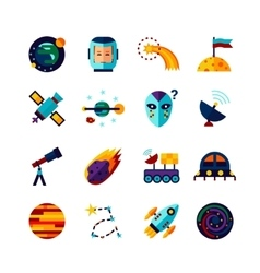 Space symbols flat icons set vector