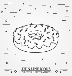 Donut thin line icon donut isolated dark grey vector