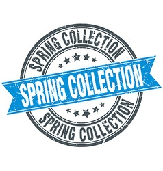Spring collection blue round grunge vintage ribbon vector