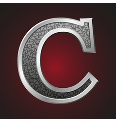 Metal letters c vector image