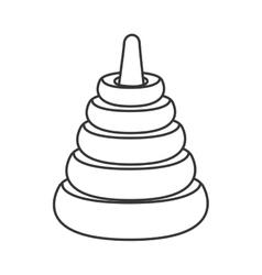Hanoi tower puzzle toy icon vector