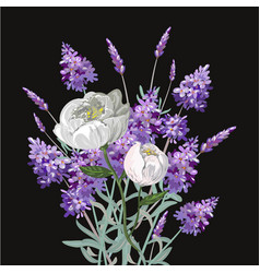 Bouquet of lavender and peony template on vector