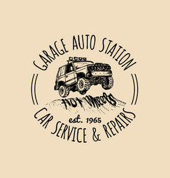 Car repair logo with suv vector