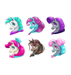 cartoon pretty horses faces vector image vector image