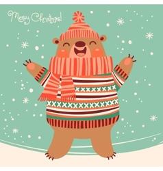 Christmas card with a cute brown bear vector image
