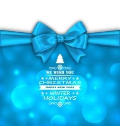 Christmas invitation with bow ribbon vector
