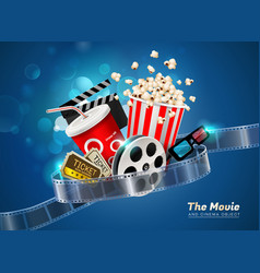 cinema movie theater object on sparkling light vector image vector image