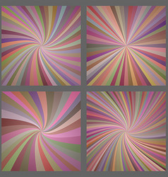 Colorful spiral and ray burst background set vector