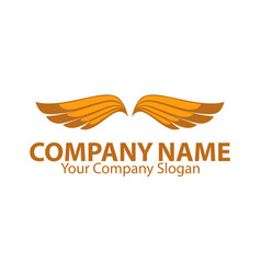 Company name emblem with orange bird wings vector